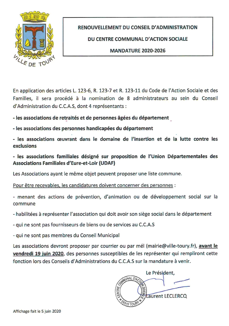 CCAS - renouvellement du CA - juin 2020