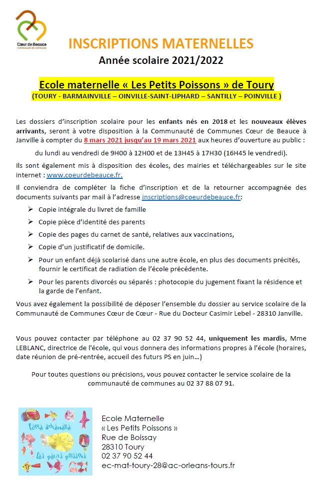 ECOLE-MAT - Infos inscriptions 2021-2022
